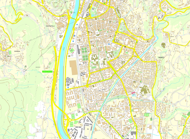Cartina Stradale Trentino.Carta Semplificata Cartografia Aree Tematiche Trento Citta Sito Ufficiale Del Comune Di Trento Comune Di Trento